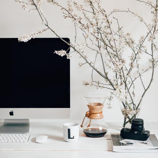 桌面 咖啡壶 花枝 电脑