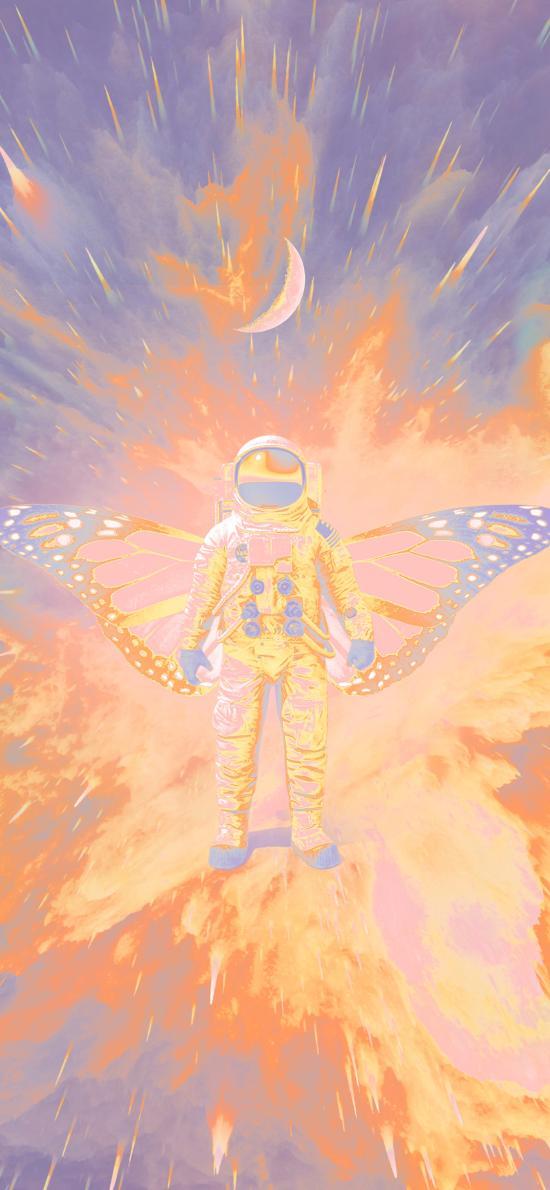 宇航員 翅膀 太空服 月亮 火焰 插畫 @HEUREUX
