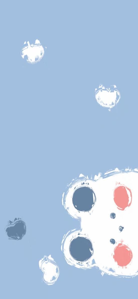 蓝 小熊 可爱 简约