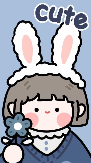 卡通 可爱 女孩 兔耳朵 cute 肉肉酱