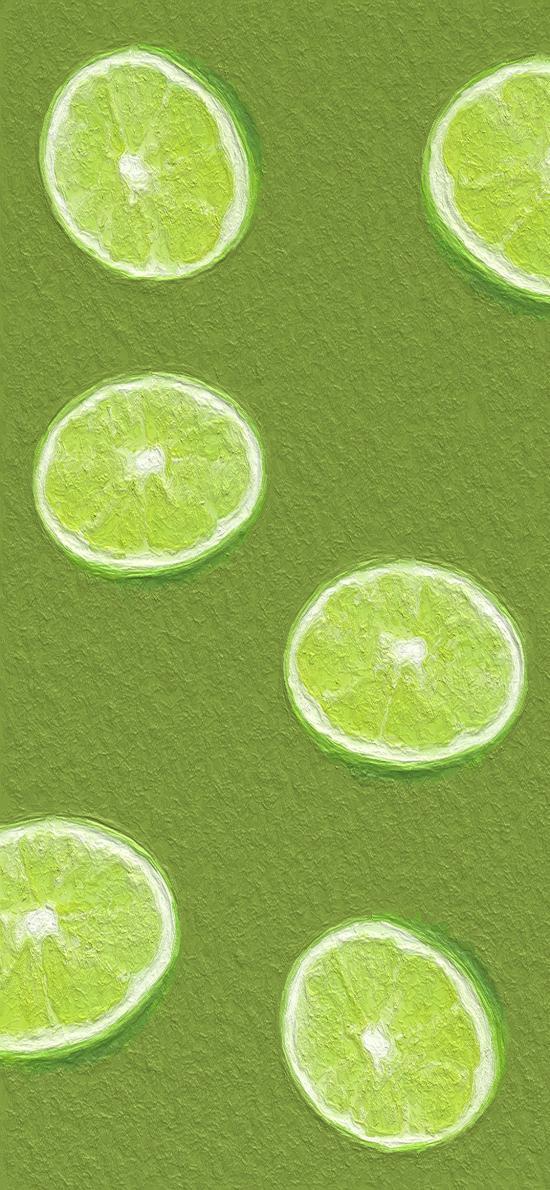油畫 青檸 綠色 平鋪