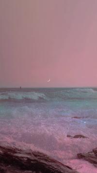 大海 唯美 星光 粉色 梦幻 月亮 海水