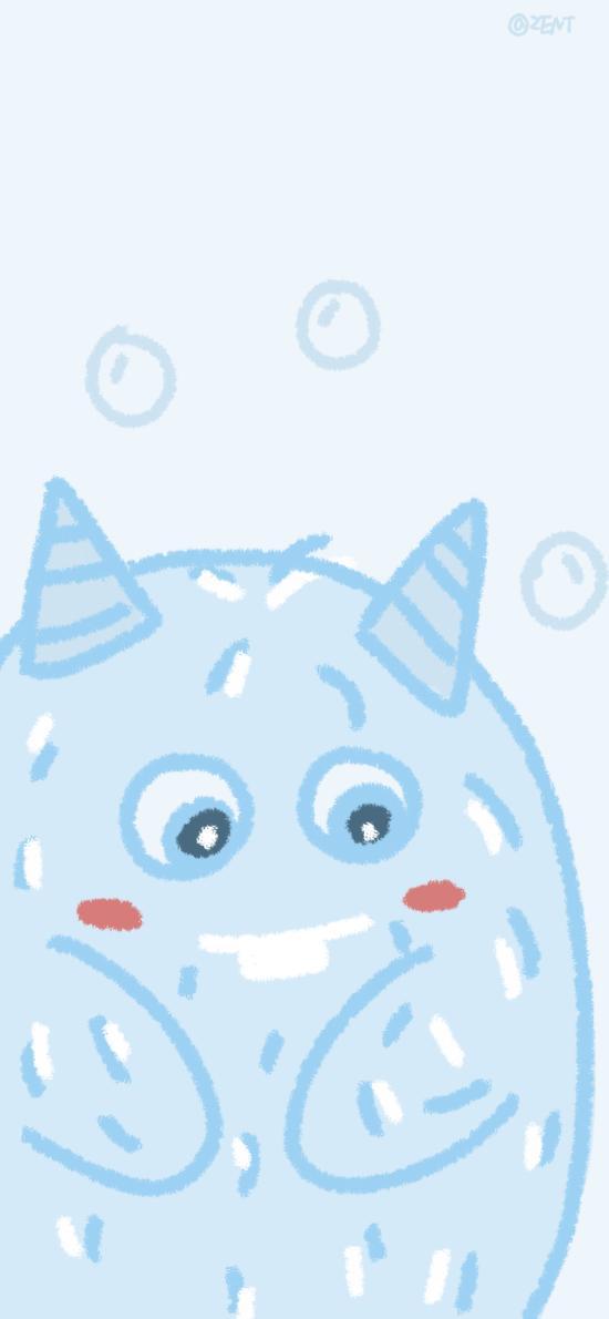 小怪兽 蓝 气泡 可爱
