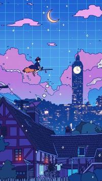 魔女宅急便 宫崎骏 动画 蓝色 城市