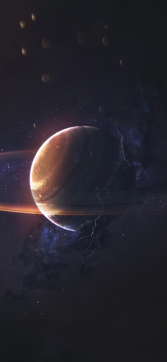宇宙 星球 光圈 太空 闪电