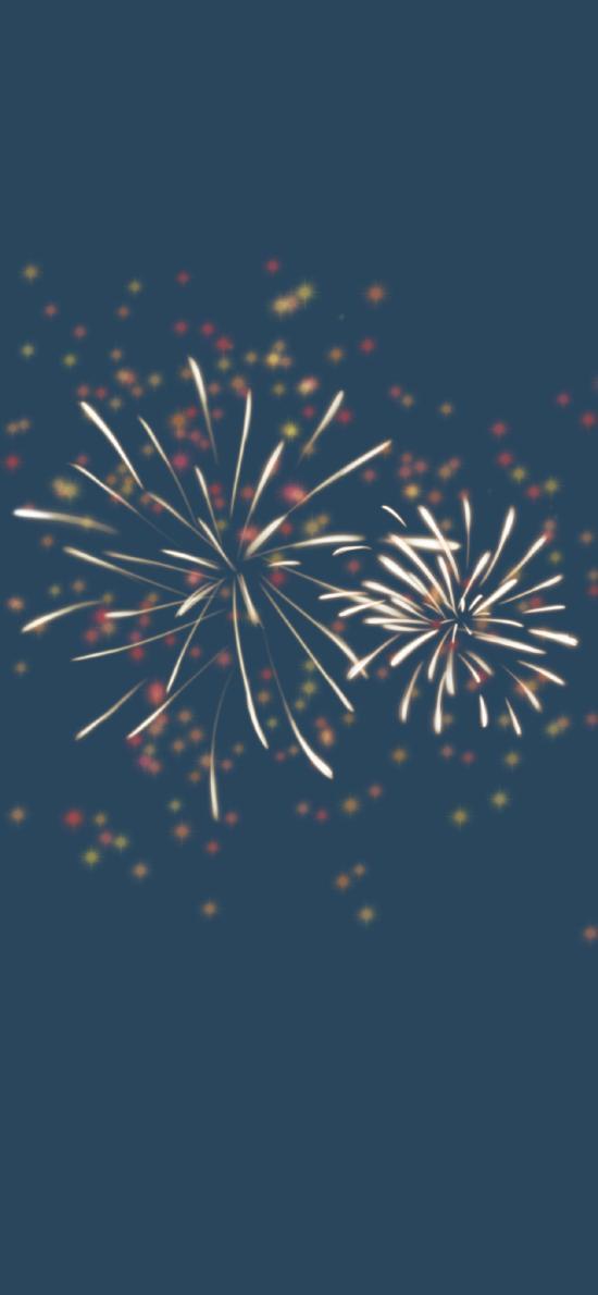 蓝色背景 烟花 节日 庆祝(取自微博:再喝一口奶盖)