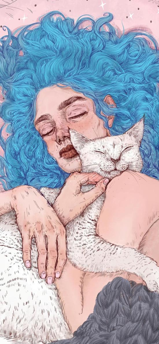 插畫 女孩 貓咪 藍頭發 藝術