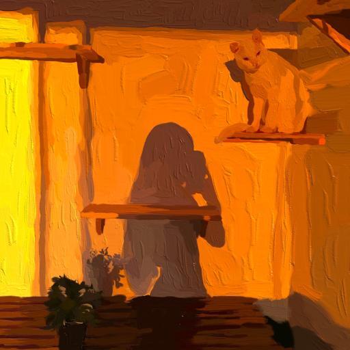 猫咪 黄色 绘画 拍照 人影