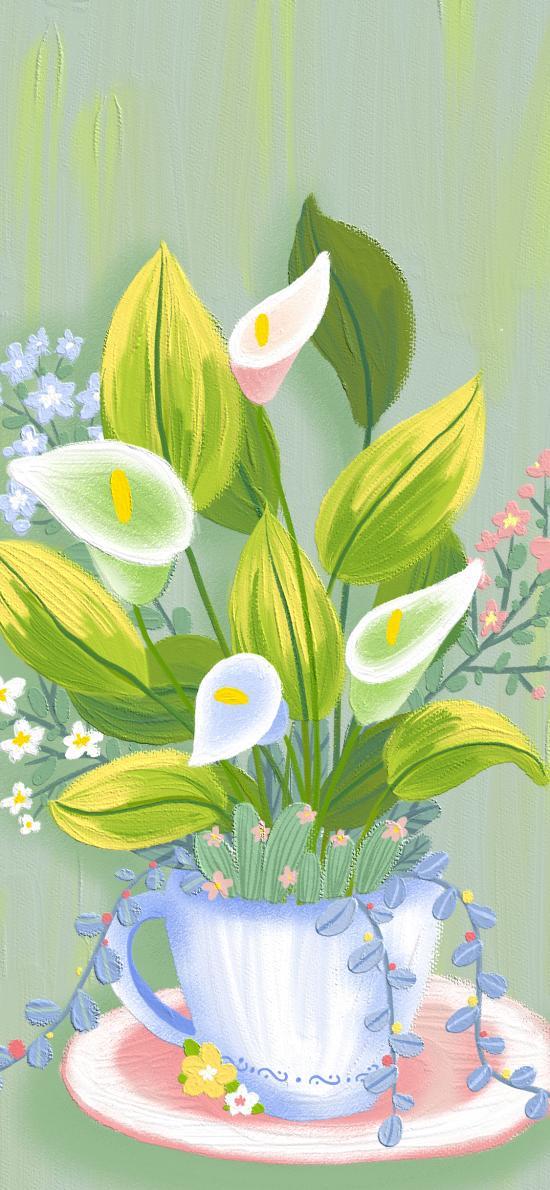 彩绘 马蹄莲 花盆 枝叶