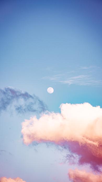 月球 月亮 蓝天 云彩