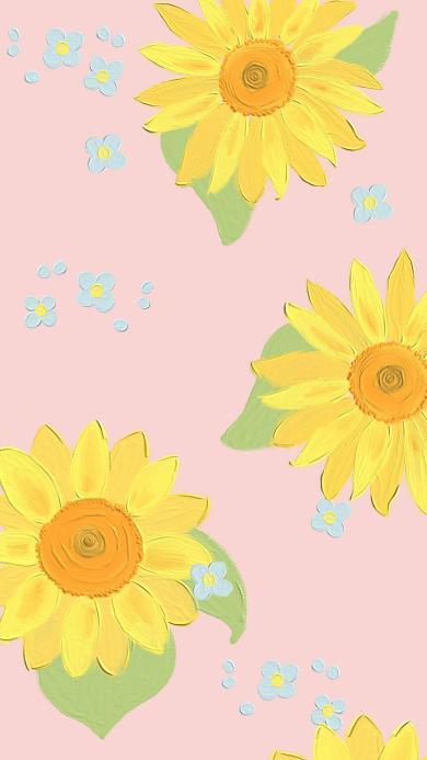 粉色背景 插图 向日葵 平铺