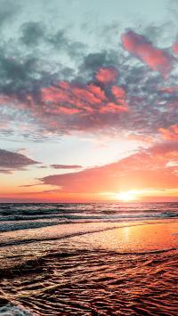 夕阳 大海 海浪 云彩
