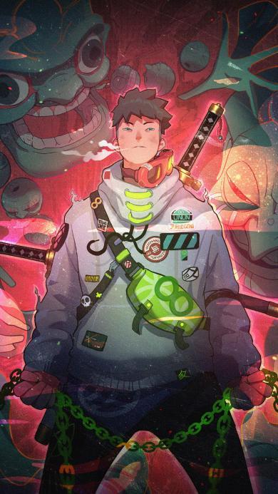 男孩 插画 怪兽 潮流 元素融合(取自站酷网:YOUNGIKE)