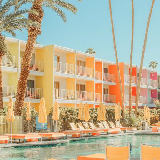 泳池 夏日 棕榈树 度假 躺椅