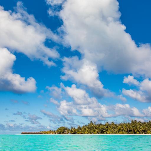 大海 岛屿 蓝莓 白云