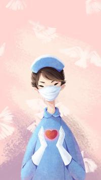 护士 医生 插画 口罩 医护人员 爱心