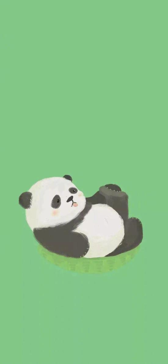 綠色背景 插畫 國寶 熊貓