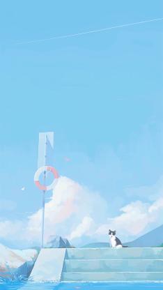 猫咪 天空 蔚蓝 岸边 蓝