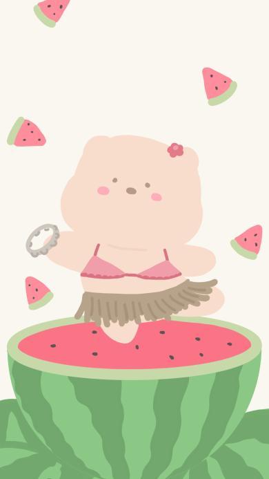 西瓜 小熊 可爱 起舞 比基尼