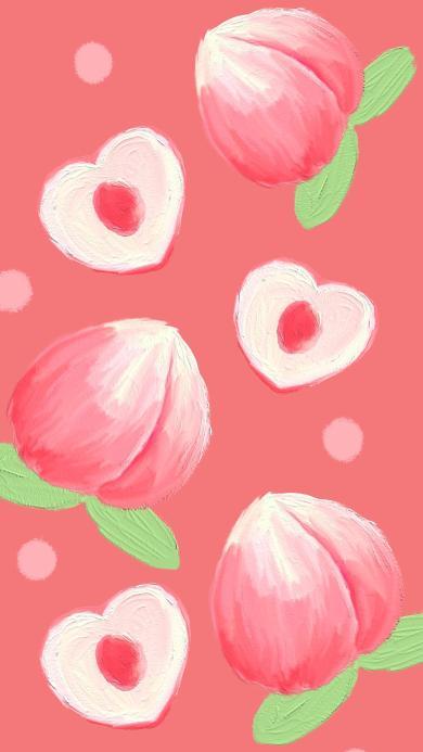 桃子 粉 插画 爱心 平铺