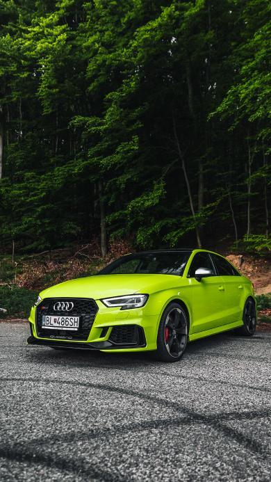 奥迪 轿车 汽车 荧光绿