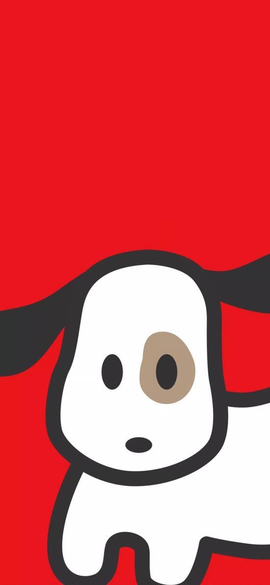 红色背景 卡通 小狗 可爱