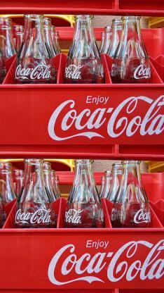 可口可乐 玻璃瓶 汽水 红色 饮料