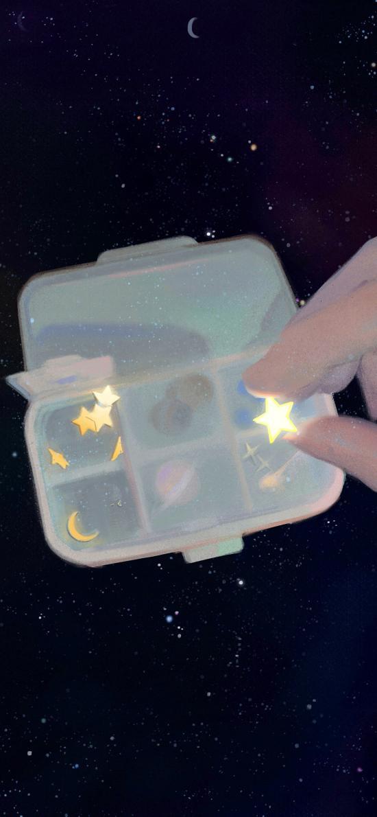 星星 插畫 盒子 發光 夜空 星空 @咸魚中下游
