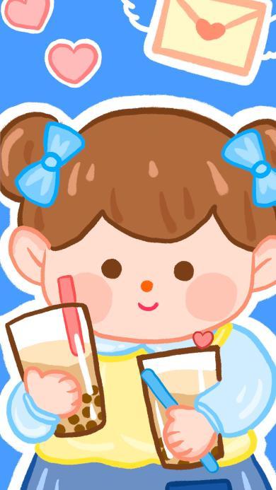 女孩 奶茶 可爱 卡通
