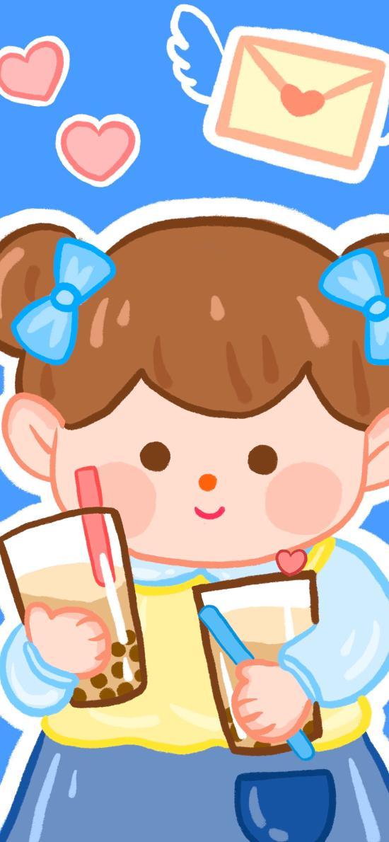 女孩 奶茶 可愛 卡通