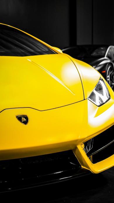 兰博基尼 超级跑车 炫酷 车头 黄色