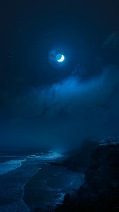 夜晚 大海 海浪 月球 月亮