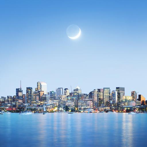 城市 海岸 月亮 藍