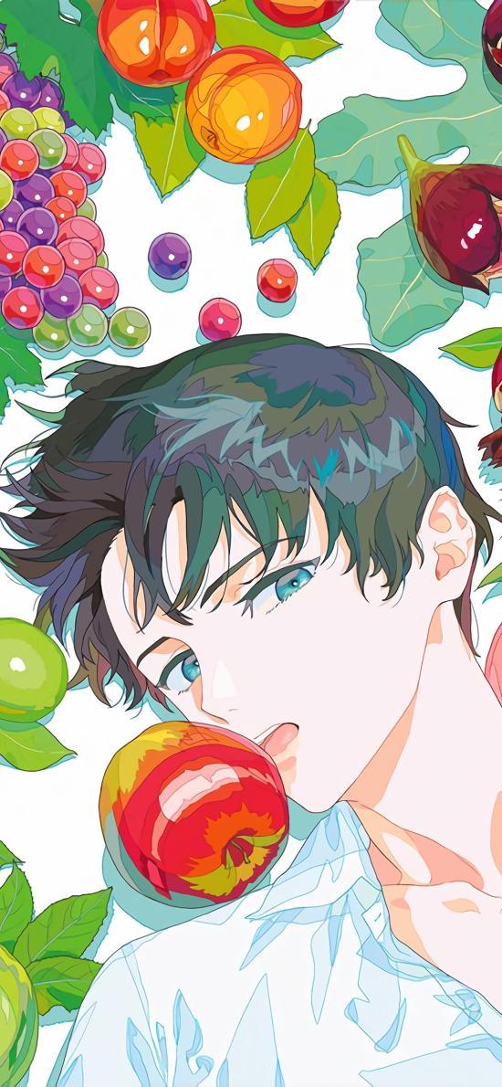 男子 二次元 水果 葡萄 蘋果