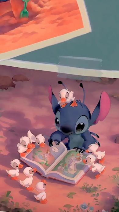 史迪仔 迪士尼 阅读 鸭子