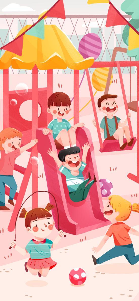 歡樂 兒童 滑滑梯 插畫 跳繩
