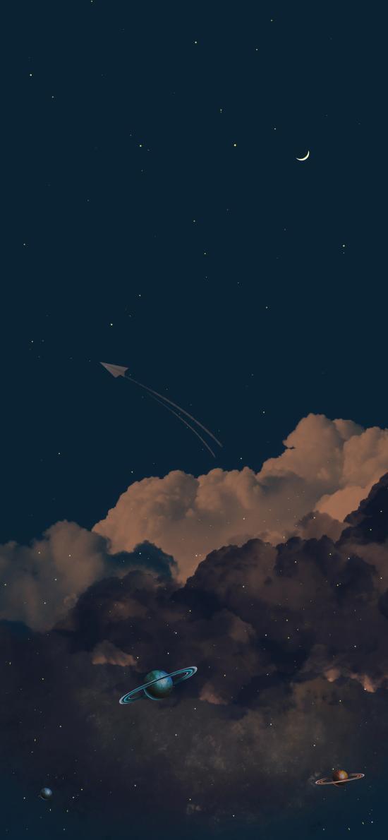 夜空 云朵 月亮 紙飛機 星球 星空