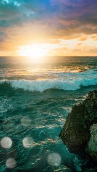 海水 海浪 太阳 云海