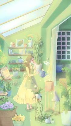 插畫 女孩 綠意 綠植