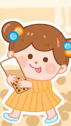 奶茶 女孩 珍珠奶茶 吐舌 卡通