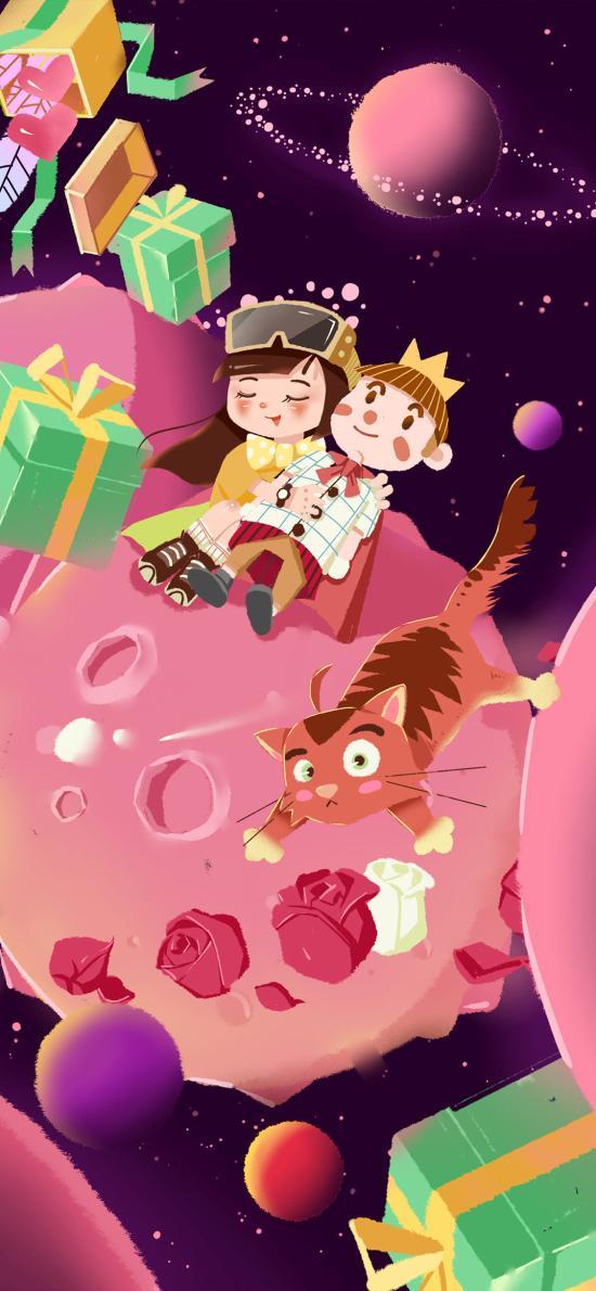 孩子 禮物 插畫 星球 小王子