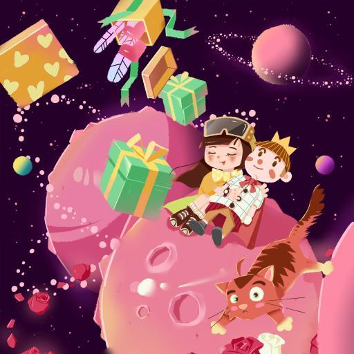 孩子 礼物 插画 星球 小王子