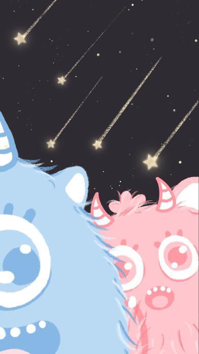 可爱 小怪兽 粉蓝CP 卡通 五角星