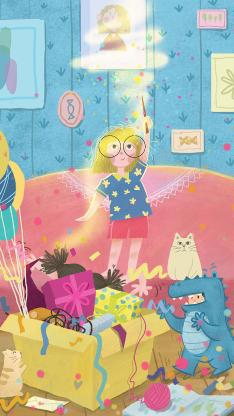 儿童节 礼物 小女孩 快乐 插画 气球