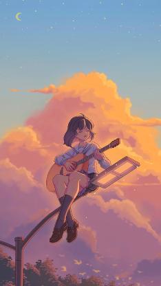 女孩 吉他 路燈 天空