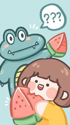 鱷魚 卡通 女孩 西瓜 肉肉醬