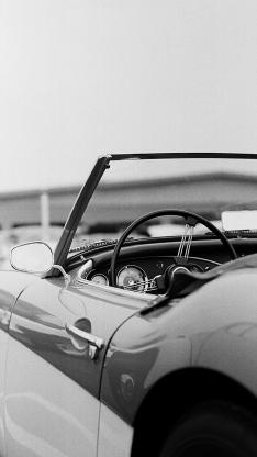 汽車 敞篷 復古 黑白
