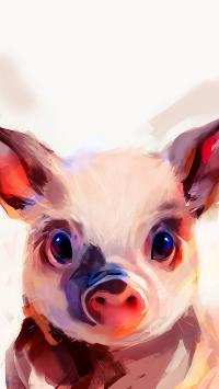 插畫 豬豬 可愛 色彩