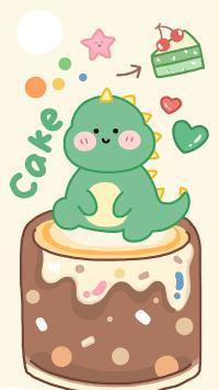 可愛 小恐龍 蛋糕 卡通