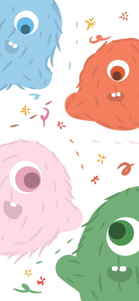 可爱 小怪兽 色彩 绘画